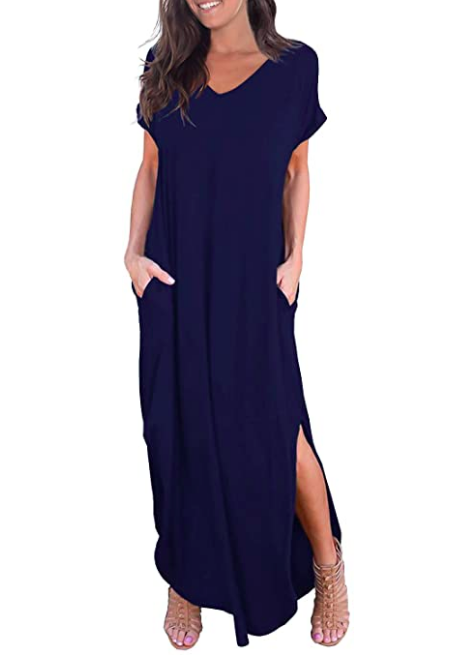 Womens Casual Loose Pocket Long Dress