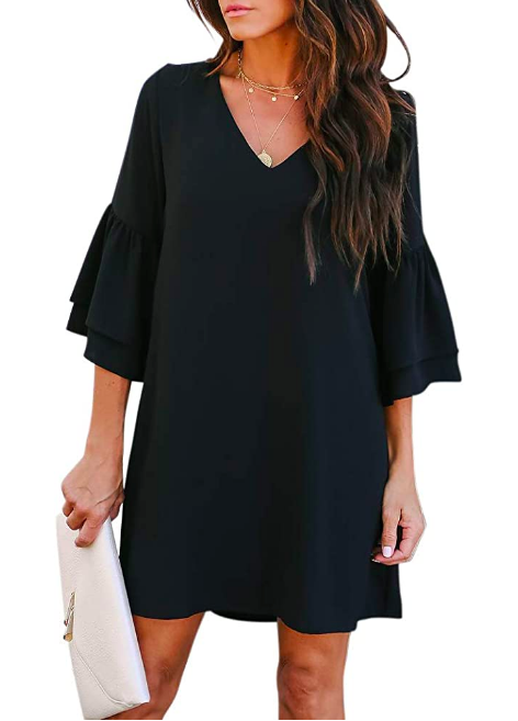 womens dress sweet and cut v neck bell sleeve shift dress