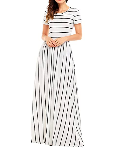 womens summer casual loose striped long dress