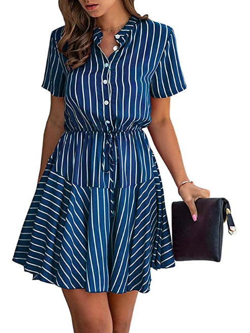 womens summer striped mini dress
